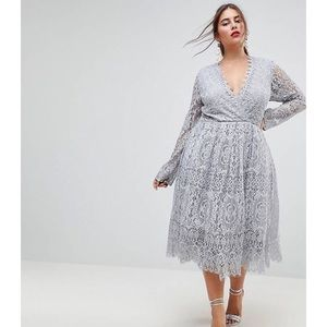 ASOS lace midi dress long sleeve fit and flare